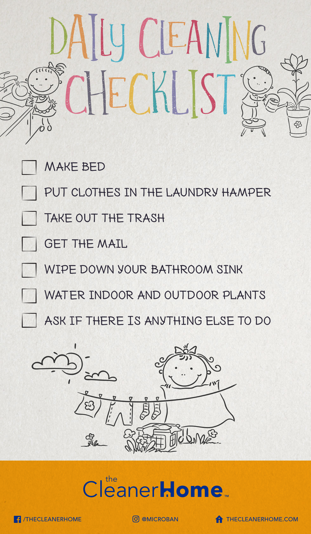 Kids Daily Cleaning Checklist Infographic