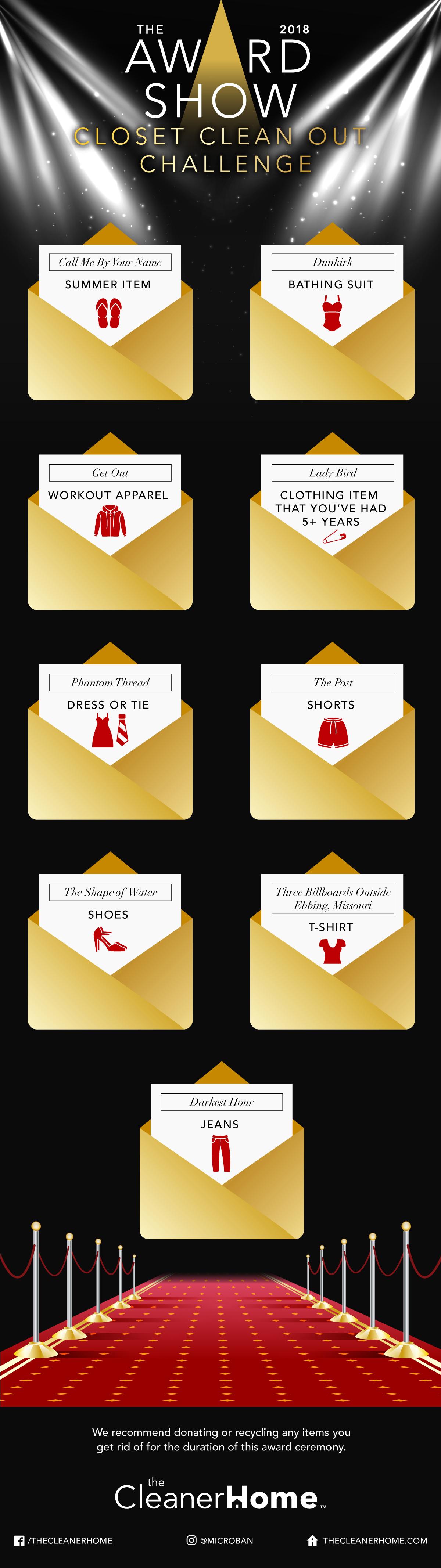 Oscars Clean Closet Challenge Infographic