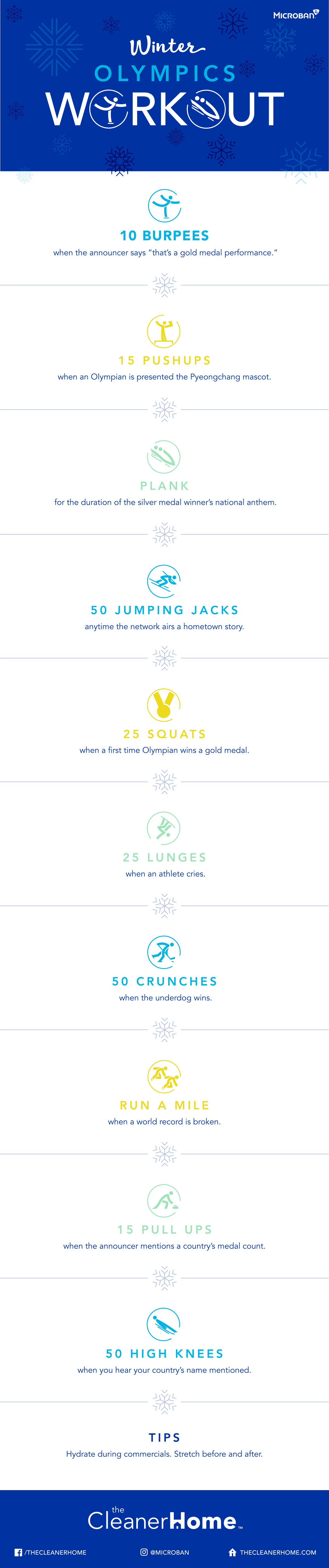 Winter Olympics Workout Challenge Infographic