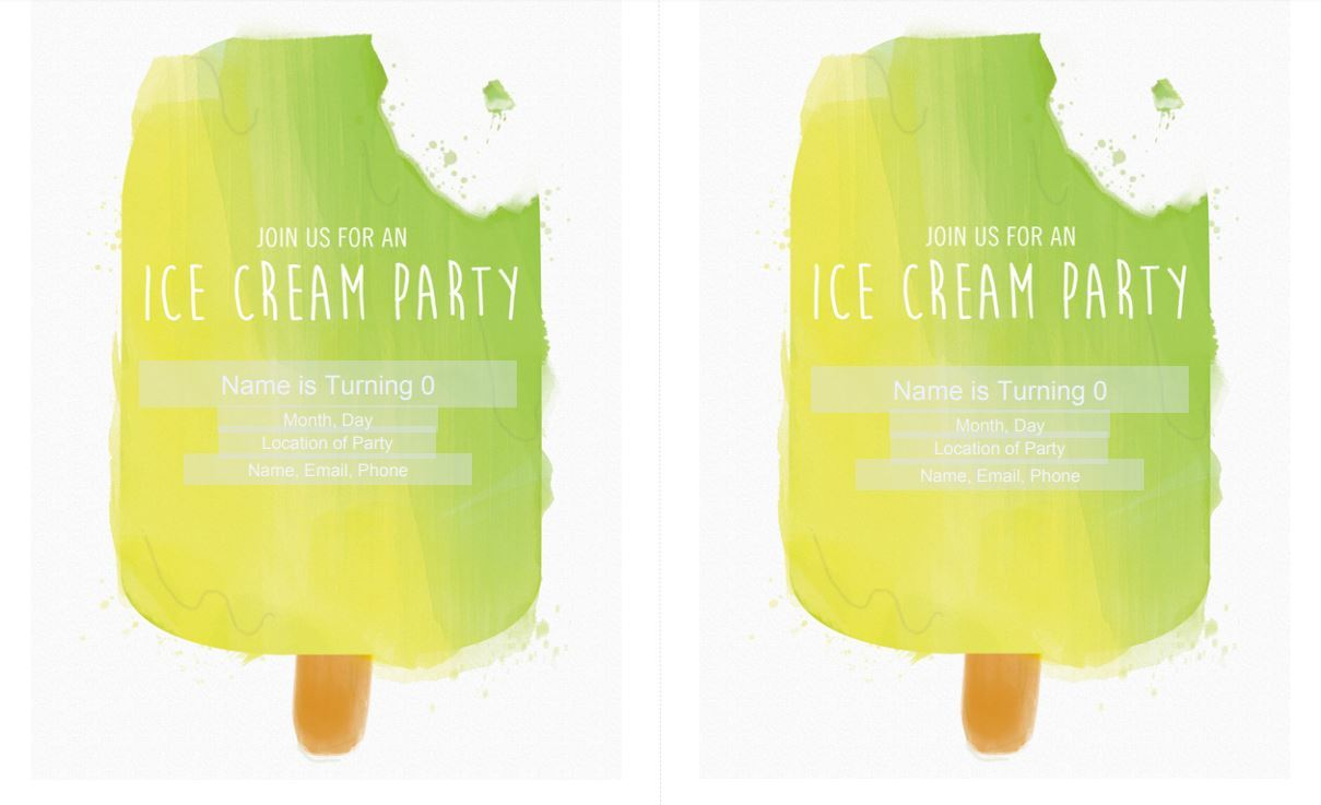 Ice Cream Birthday Party Invitation Free Download