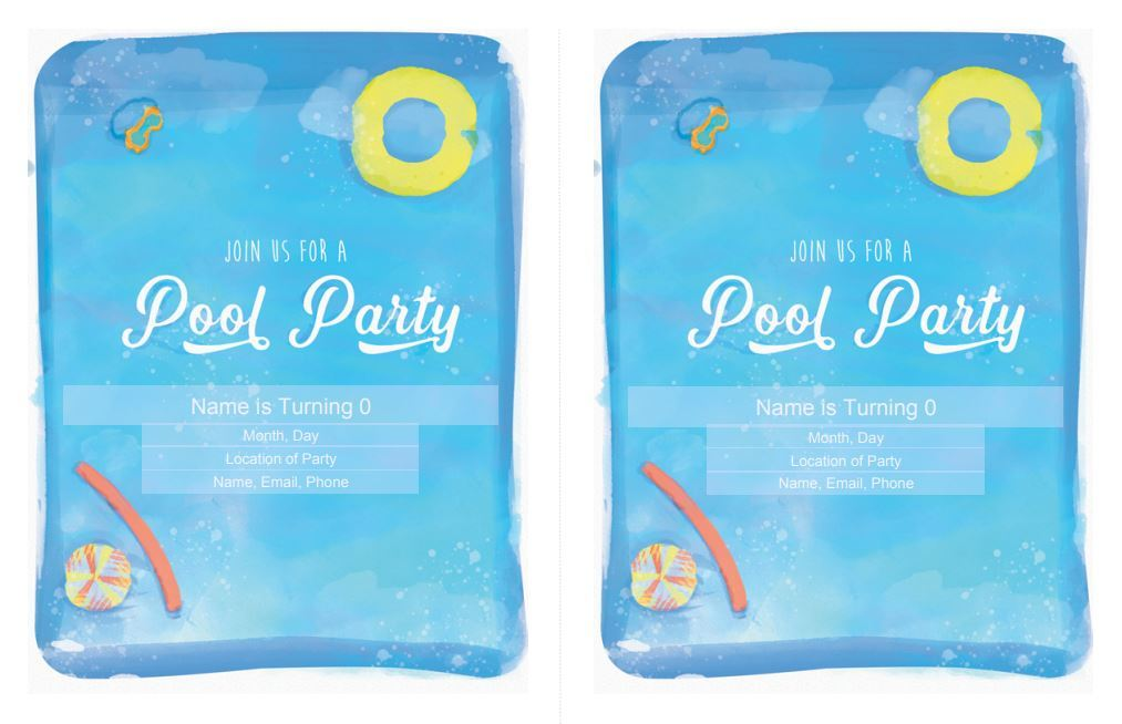 Pool Party Birthday Party Invitation Free Download