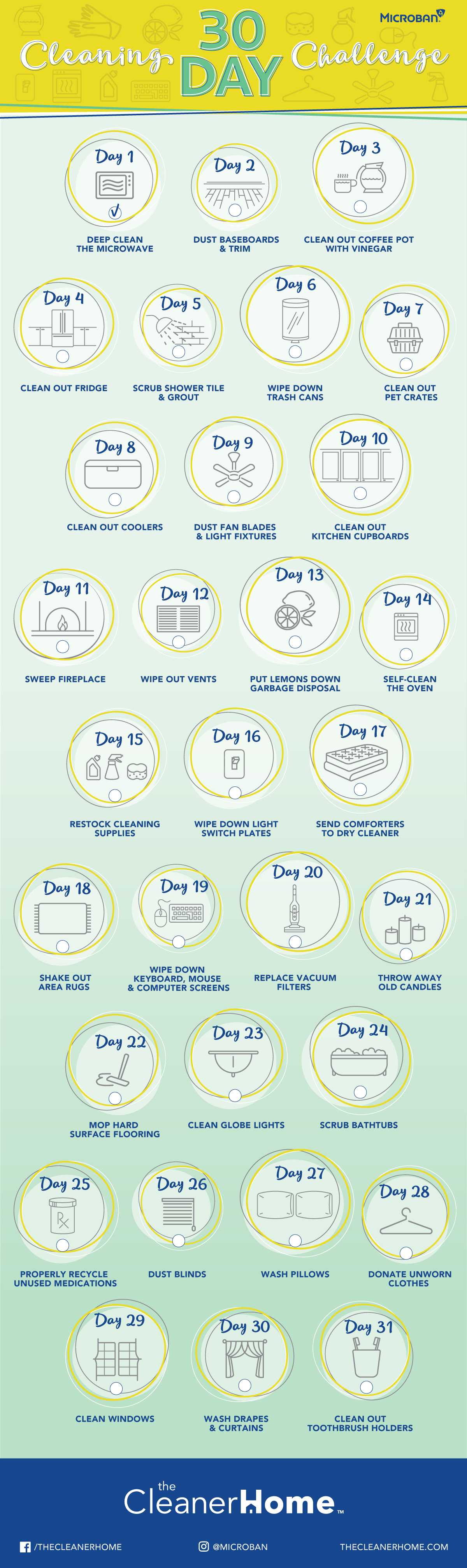 30 Day House Cleaning Challenge Infographic