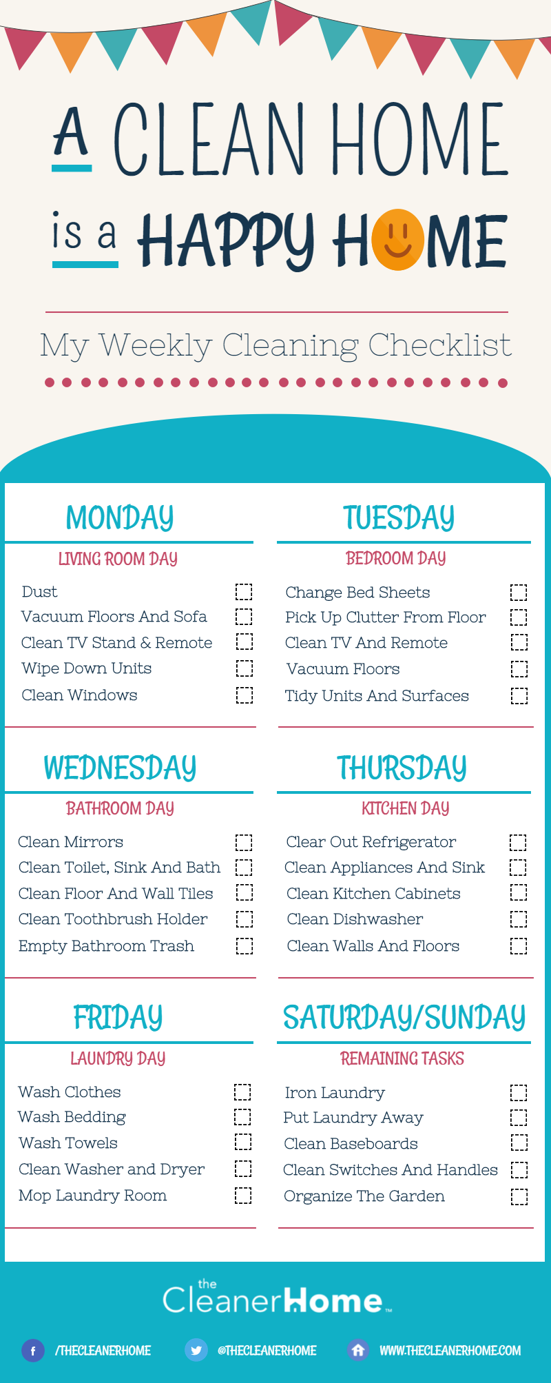 Weekly House Cleaning Checklist | The Cleaner Home
