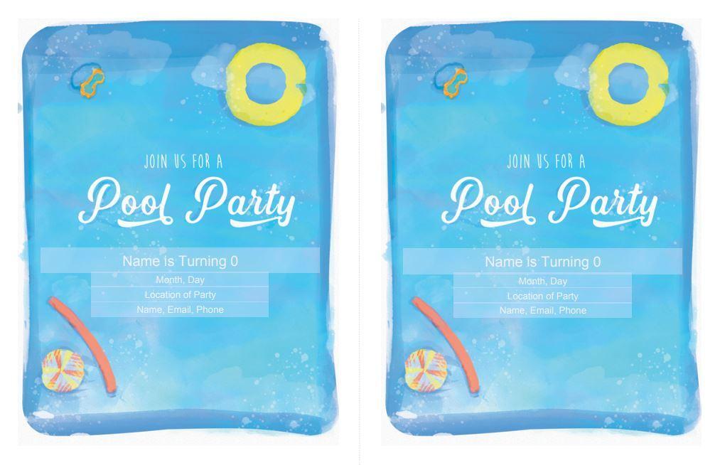 Pool Party Birthday Invitation Free Download